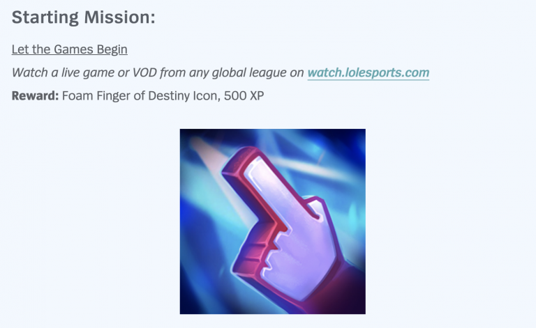 League of Legends Starting Mission